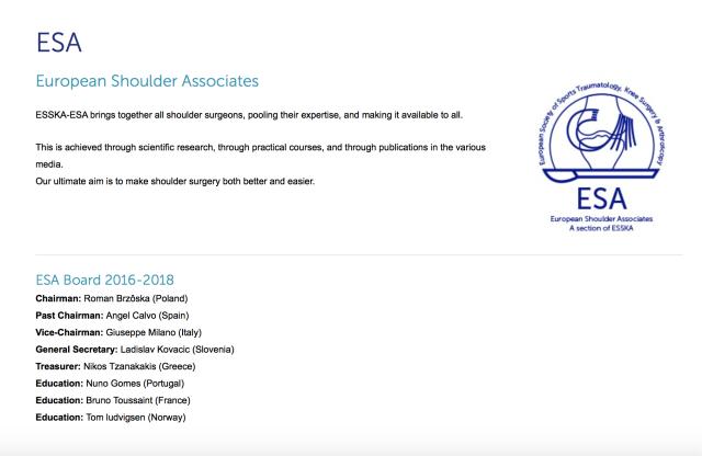 ESSKA-ESA Board 2016-2018